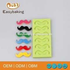 6 Little Beard Moustache Funny Accessories Silicone Bakeware Molds For Cake Decorate