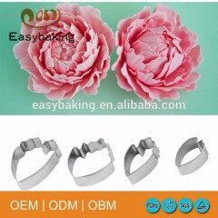 4pcs metal peony petal cutter fondant cake decorating tools set