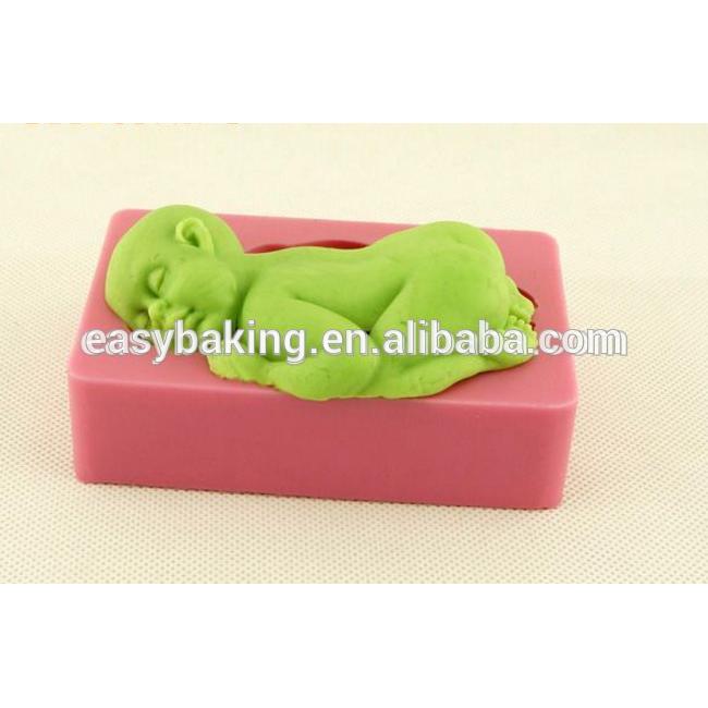 3D Soft silicone baby Sleeping Shape Fondant Decorating Soap Cake Baking Mold and fondant mold