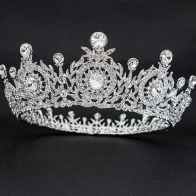 Real Austrian Crystal Rhinestone Flower Tiaras and Crown Diadem Women's Prom Wedding Hair Accessories Jewelry