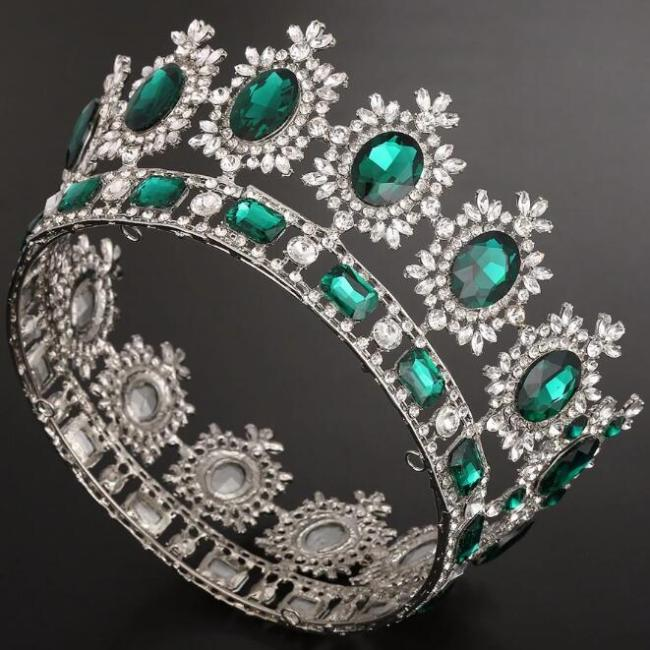 Bridal European Princess Tiara European Retro Round Baroque Full Crown Wedding Accessories
