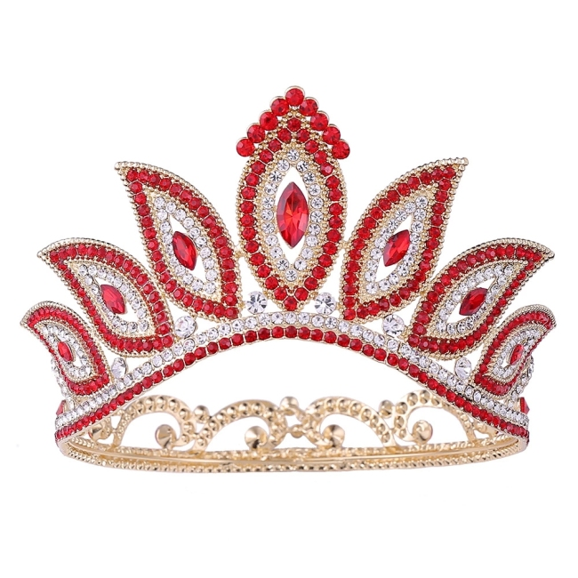 Wholesale wedding hair accessories gold crown tiaras tiaras and crowns gold with rhinestones