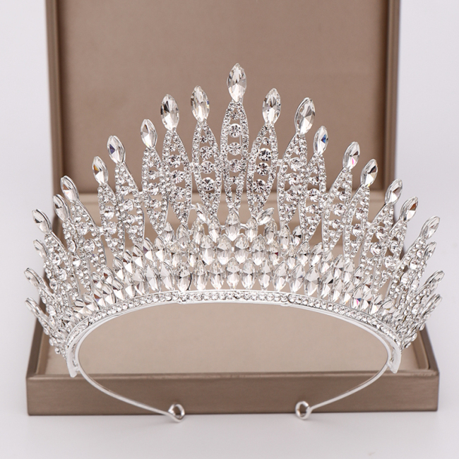 Trendy Silver Color Rhinestone Crystal Queen Big Crown Bridal Wedding Tiara Women Beauty pageant Bridal Hair Accessories Jewelry
