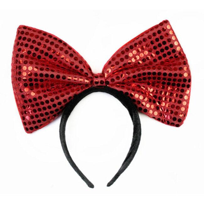 Colorful Sequin Big Bowknot Headband Birthday Headdress Halloween Carnival Parties Headpiece Hair Hoop