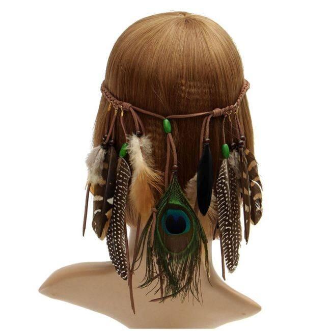 Indian Hippie Feather Headband Tassels Waistband Headdress Fancy Dress Carnival