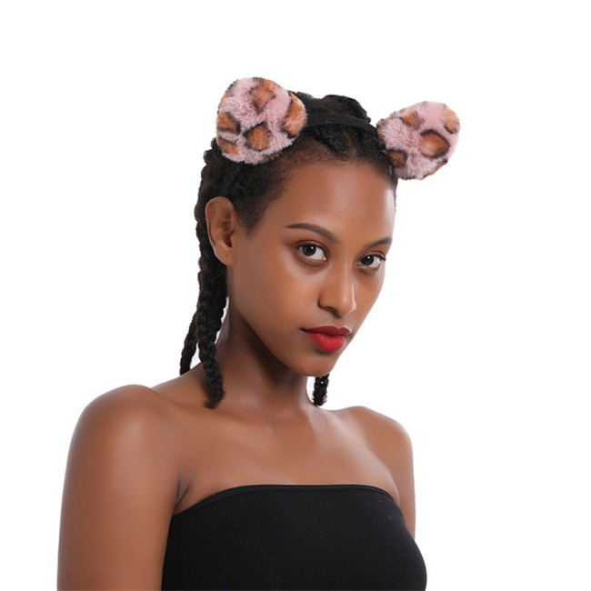 Fluffy Leopard Cat Ear Hairband Headband Headdress For Celebration Festival Carnival Masquerade Party Photograph Props