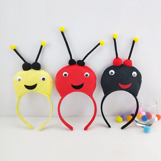 Children Kids Boy Girl 3D Bee Headband Animal Cosplay Costume Head Wear Birthday Party Decor Halloween Carnival Christmas