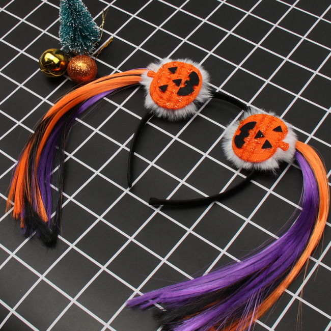 Kids Halloween Spider Pumpkin Pompon Braid Wig Hairband Headwear Headband For Birthday Festival Carnival Party Hair Accessories