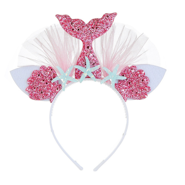 Sequin Mermaid Headband Princess Mesh Yarn Shell Flower Animal Hairbands Hoop Party Lace Hair Accessories for Children