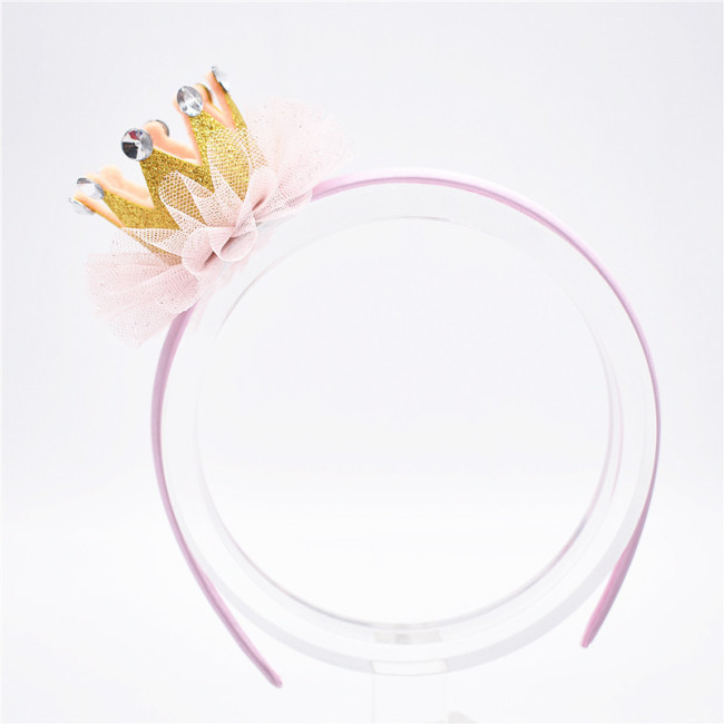 Children Tulle Pearl Crown Hairbands Tiaras Hoop For Hair Clasp Girl Hair Band Headbands Ornaments Hair Accessoies