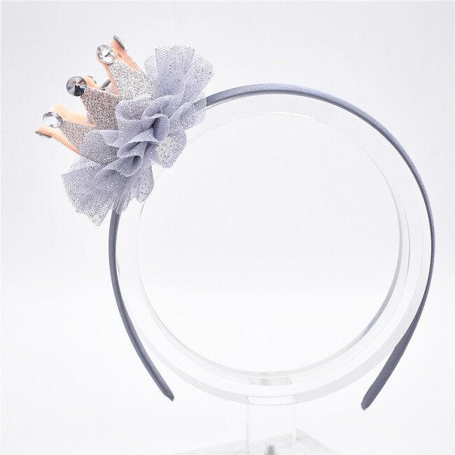 Children Tulle Pearl Crown Hairbands Tiaras Hoop For Hair Clasp Girl Hair Band Headbands Ornaments Hair Accessoies