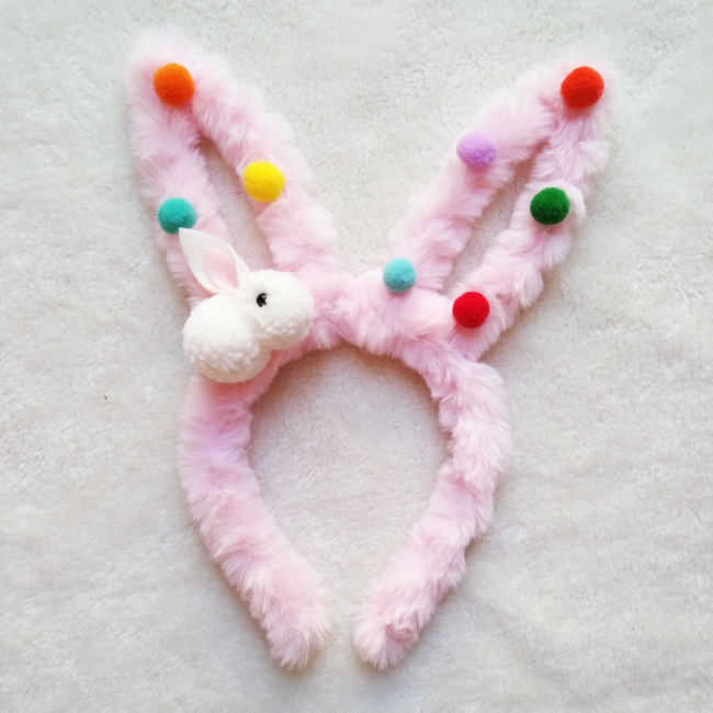 Easter LED Furry Rabbit Bunny Ear Glowing Hairband Headband Headdress For Celebration Festival Carnival Party Hair Hoop