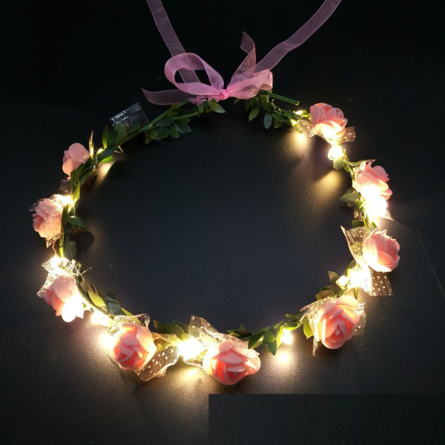 Women Girls Wedding Party Crown Flower Headband LED Light Hair Wreath Hairband Garlands Glow Birthday Neon Party Decor