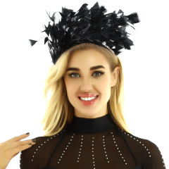 Women Girls Feather Headband Hair Hoop Fascinator Headpiece Carnival Masquerade Bridal Headwear Hair Accessories