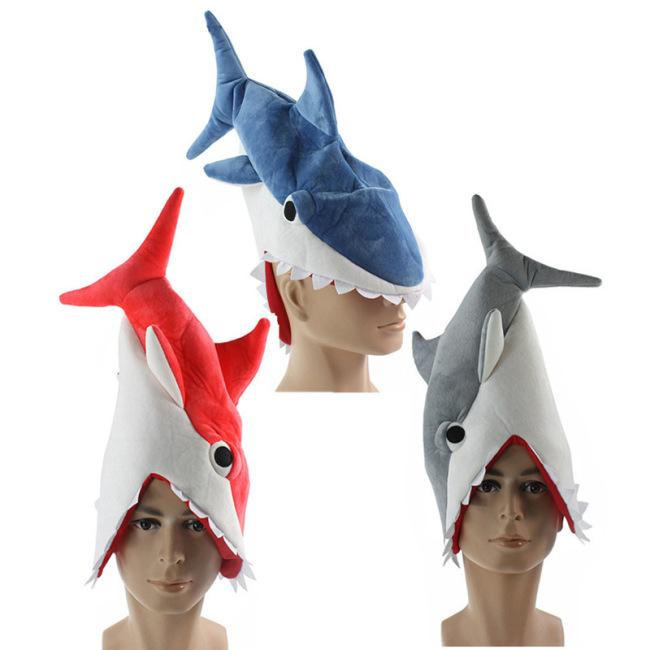 Animal Shark Cosplay Costume 3D Hat Creative Individuality Fancy Cap Eat Man Prank Shark Hat