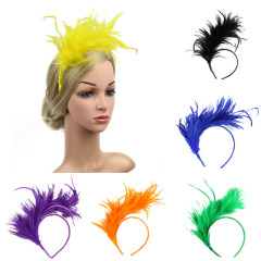 Vintage Colorful Burlesque Headpiece Headbands Flapper Ostrich Feather Fancy Fascinator Accessories Headdress Hair Bands Head