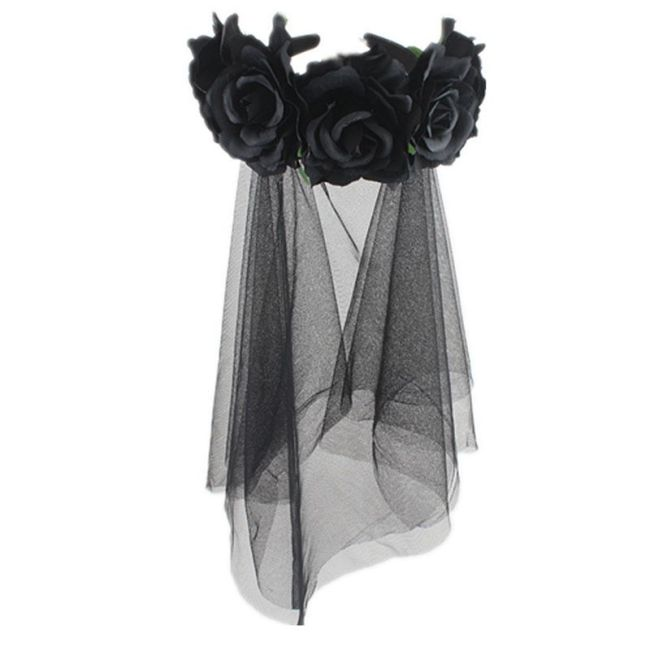 Headband Bride Veil Fancy Dress Costume Halloween Headwear Party Accessories Black Rose Flower Hairband
