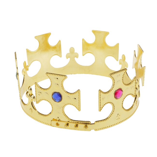 Gold Plastic Kings Queens Crown Hat Royal Fancy Dress Party Costume Hat Birthday Headwear for Adult Boys Girls