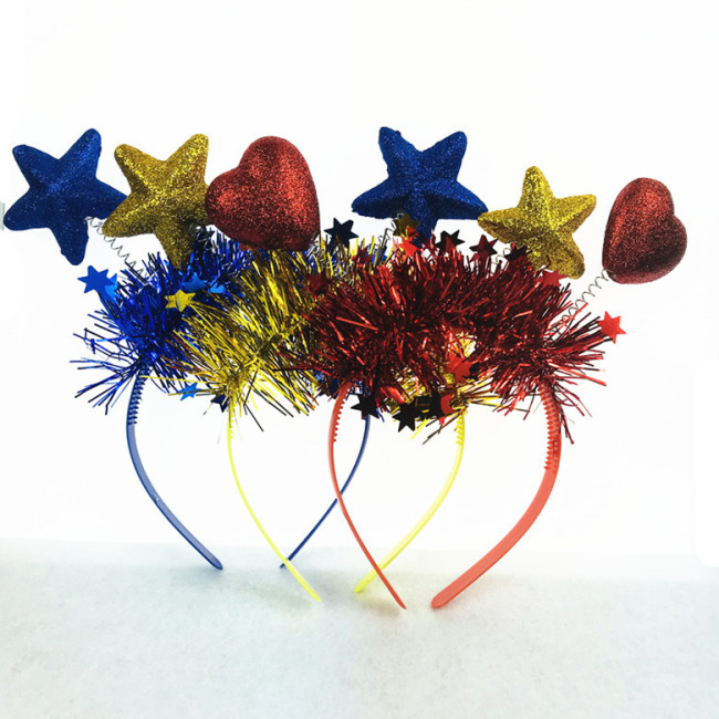 Heart Star Shape Spring Headband Hairband Ornament Costume Headwear Cute Hair Accessories Purim Carnival Party Decoration