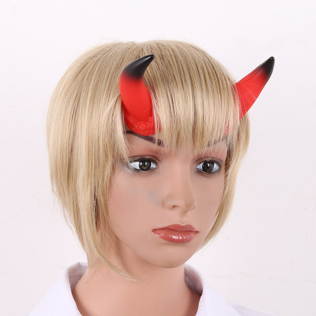 Devil Horns Headband Headwear Adjustable Elastic Strap Hairband Halloween Cosplay Costume Ox Horn Headdress Hair Accessories