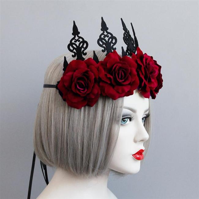 Headband Rosettes Crown Fashion Retro Unique Headdress Accessories for Dancing Party Halloween Women Ladies