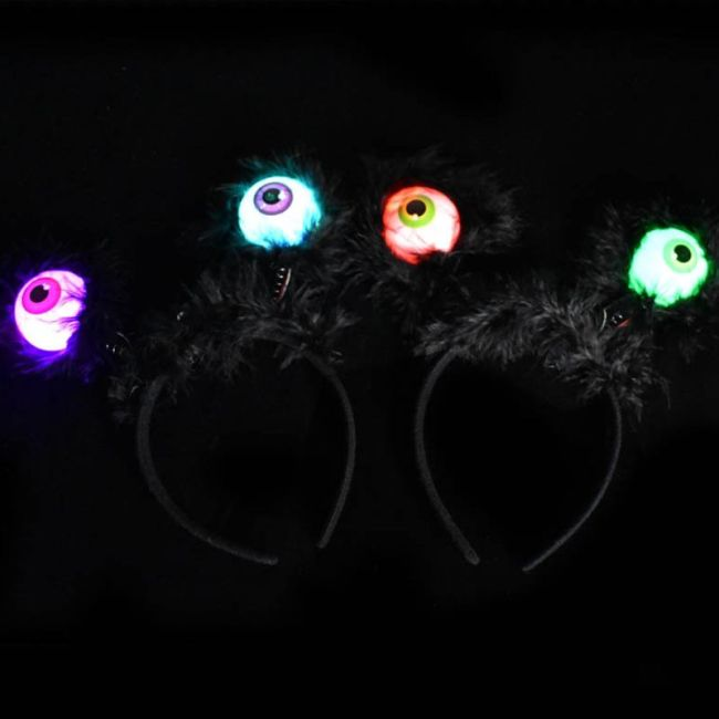 Halloween Glowing Eyeball Headband Children Toy Funny Headbands Prom Props Hair Accessories Headdress