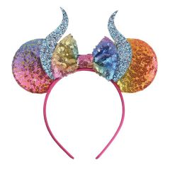 New Hallowen Devil Horn Hairband For Girls Women Festival Minnie Mouse Ears Headband Glitter Felt Horn Kids Hair Accessorie