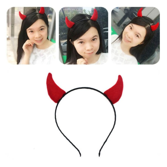 Adult Children Kids Demon Red Ox Horn Hair Hoop Cloth Wrapped Elastic Headband Halloween Christmas Party Costume Cosplay