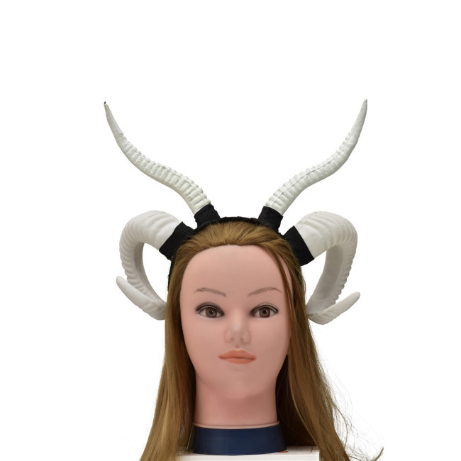 Gothic Punk Women Antelope Sheep Horn Headband Forest Animal Cosplay Hair Hoop Halloween Masquerade Devil Costume Photo Prop