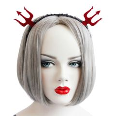 Women Girls Red Devil Fork Headband Black Lace Pattern Hair Hoop Halloween Decor