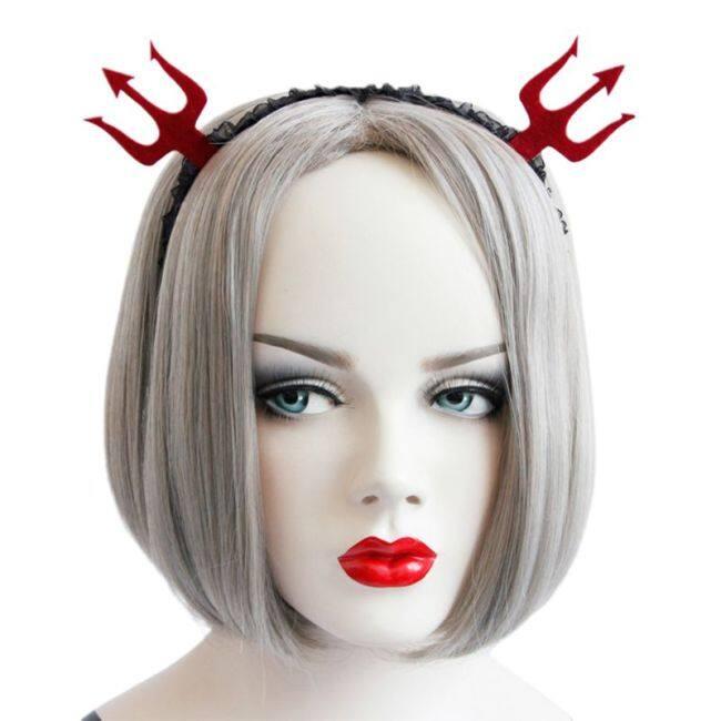 Women Girls Red Devil Fork Headband Black Lace Pattern Hair Hoop Halloween Decor