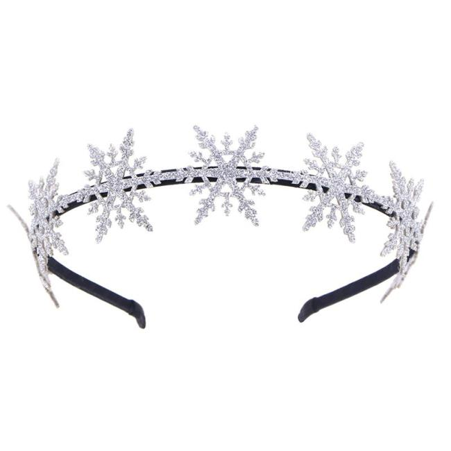 Cute Glitter Snowflake Hair Hoops Christmas Hair Bands Adorable Headdress Party Favors Supplies for Kids Christmas Hair Decor
