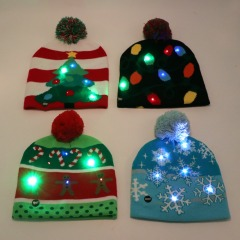 Led Light Cotton Christmas Hat Knit Up Beanie Hat Kids Adult Children Cap Christmas Party Decoration New Year Gifts