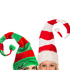 Funny Party Hats Christmas Hats Long Striped Felt Plush Elf Hat Holiday Theme Hats Christmas Party Accessory