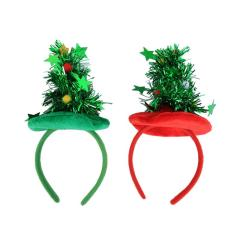 Christmas Tree Shape Hair Band Cute Hair Hoop Paillette Xmas Headdress Party Favors Photo Props For Kids Adults