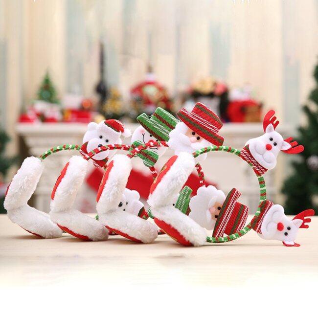 Christmas Headband Earmuffs Headdress Party Decor Warm Earcap Winter Ear Muffs Random color
