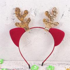 Christmas Headband Cute Xmas Party Headdress Elk Antlers Hair Bands Claret Cat Ears Hair Hoops Party Favors Supplies