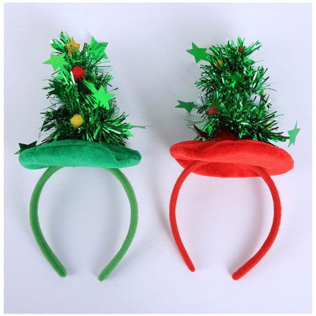 Cute Green Christmas Tree Headband Party Headdress Novel Children Christmas Party Photo Props