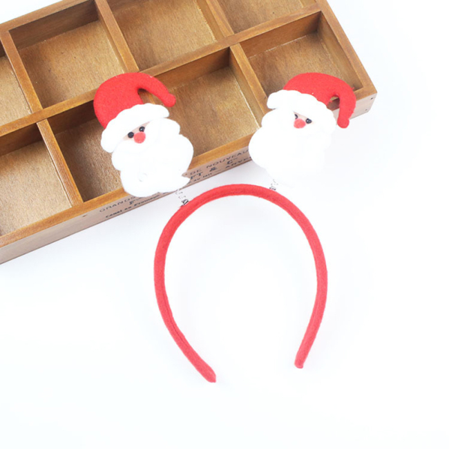 Christmas Headband Snowman Santa Claus Deer Horn Headdress Cat Ear Headband Kids Adults Hair Accessories Party Decor Photo Props
