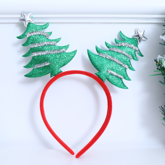 Christmas Tree Hair Hoop Beautiful Decorative Cloth Hair Band Headdress Hair Hoop Photo Props Accessories