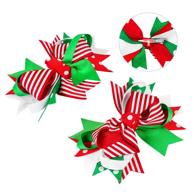 2PCS Christmas Hair Clip Adorable Cute Oversized Bowknot Hair Pins Hair Barrettes Headdress for Women Girls Ladies