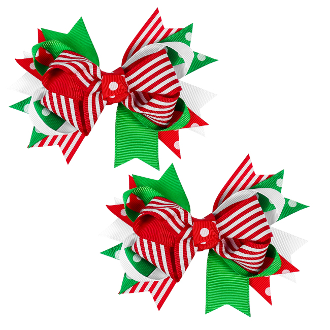 2PCS Christmas Hair Clip Adorable Cute Oversized Bowknot Hair Pins Hair Barrettes Headdress for Women Girls Ladies