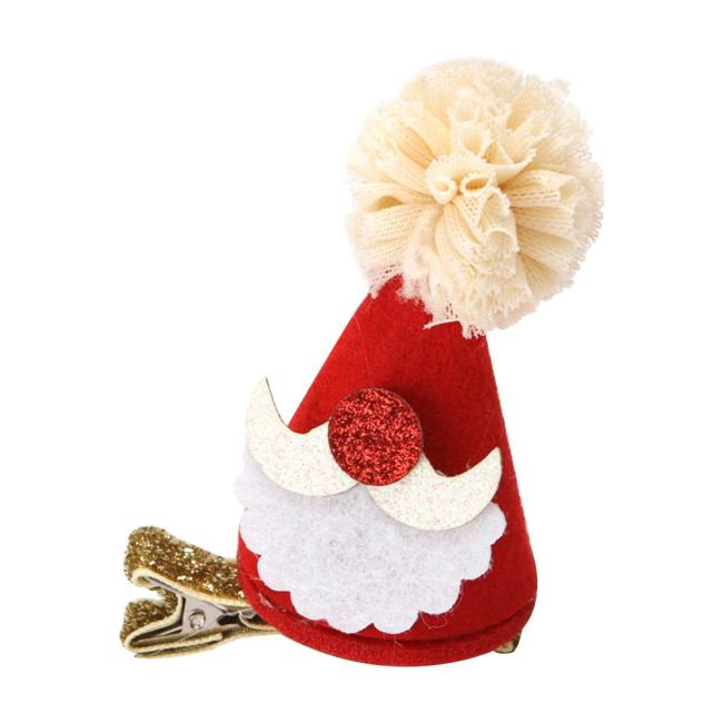 New Christmas Hair Clips -Red Small Hat For Festive Birthday Banquet Party Dress Up Headdress Hair Accessories For Baby Girls