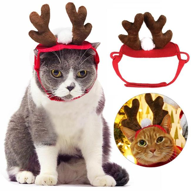 Christmas Dog Headbands Antlers Pet Supplies Dog Cat Deer Headband Decoration Teddy Dog Antlers Dog Gentleman Headdress