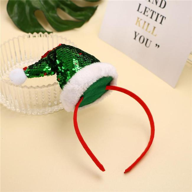 Christmas Headdress Headband Hair Band Glitter Sequin Costume Accessory Hair Hoop Headwear for Party Holiday Carnival
