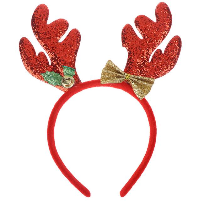 Gold Reindeer Headband Horns Cosplay Antlers Deer Ears Headband Christmas Hair Accessories for Kids Adults Christmas Xmas Gift