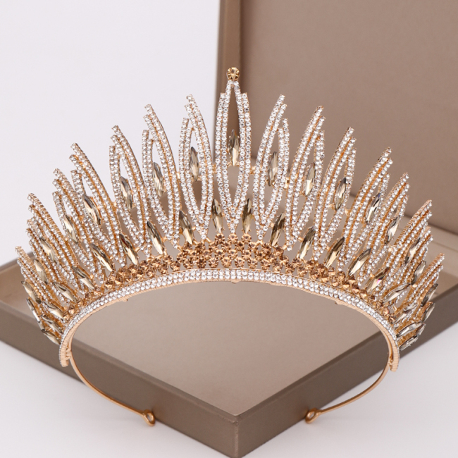 luxurious Rhinestone Crystal Gold Wedding Big Crown Queen Bridal Tiara Women Beauty pageant Bridal Hair Jewelry Accessories Gift