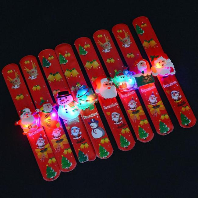 12pcs LED Lights Santa Claus Christmas Slap Bracelet Circle Wristband For Christmas Party Favors Ornament (Assorted Styles)