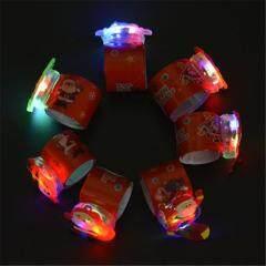 12pcs LED Lights Santa Claus Christmas Slap Bracelet Circle Wristband For Christmas Party Favors Ornament (Assorted Styles)