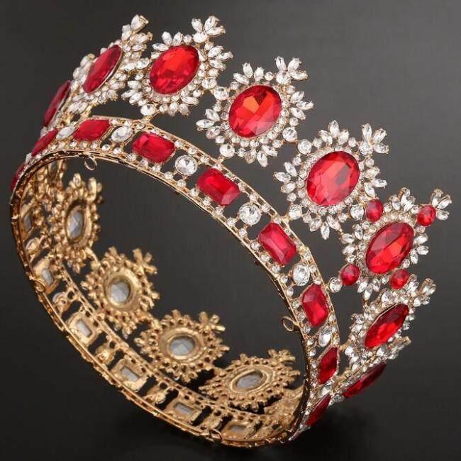 Bridal European Princess Tiara European Retro Round Baroque Full Crown Wedding Accessories